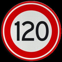 Verkeersbord Maximum toegestane snelheid 120 kilometer per uur Verkeersbord RVV A01-120 - Maximum snelheid 120 km/h A01-120 snelhiedsbord, snelheidbord, 120 km bord, snelheid, zonebord, einde, 120 km per uur, A1, maximumsnelheid, maximum snelheid, maximumsnelheid, maximale snelheid