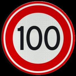 Verkeersbord Maximumsnelheid 100 kilometer per uur. Verkeersbord RVV A01-100 - Maximum snelheid 100 km/h A01-100 snelhiedsbord, snelheidbord, 100 km bord, snelheid, zonebord, einde, 100 km per uur, A1, maximalesnelheid, maximale snelheid, maximumsnelheid, maximum snelheid
