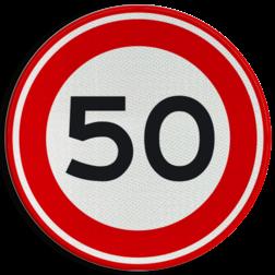 Product Maximumsnelheid 50 km/h Verkeersteken RVV A01-050 - klasse 3 50 kilometer per uur, 50 jaar, jubileum, bord in tuin, speciale gelegenheid, A1