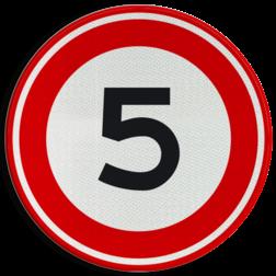 Verkeersbord Maximum toegestane snelheid 5 kilometer per uur Verkeersbord RVV A01-5 - Maximum snelheid 5 km/h A01-005 snelheid, jarig, snelheid, snelheidsbord, maximalesnelheid, maximale snelheid, maximumsnelheid, maximum snelheid
