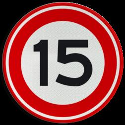 Verkeersbord Maximum toegestane snelheid 15 kilometer per uur Verkeersbord RVV A01-15 - Maximum snelheid 15 km/h A01-015