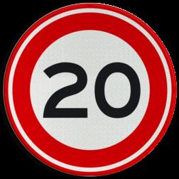 Verkeersbord Maximum toegestane snelheid 20 kilometer per uur Verkeersbord RVV A01-20 - Maximum snelheid 20 km/h A01-020 snelheid, jarig, snelheid, snelheidsbord, maximalesnelheid, maximale snelheid, maximumsnelheid, maximum snelheid