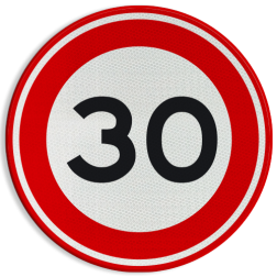 Verkeersbord Maximumsnelheid 30 km/h Verkeersbord RVV A01-030 - klasse 3 30 km zone, A1