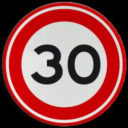Verkeersbord Maximum toegestane snelheid 30 kilometer per uur. Verkeersbord RVV A01-030 - Maximum snelheid 30 km/h A01-030 30 km bord, snelheid, jarig, zone, maximale snelheid, maximalesnelheid, maximumsnelheid, maximum snelheid