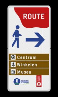 Routebord Routebord bewegwijzering in huisstijl Routebord 1:2 - in Huisstijl gemeente Hattem - Bewegwijzering zelf tekstbord maken, tekst invoeren, blauw bord