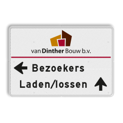 Parkeerroutebord 2 regelig met logo + pijl links - eigen tekst