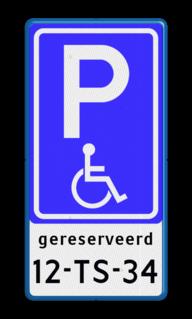 Verkeersbord Parkeren minder validen + kenteken Verkeersbord RVV E06 + kenteken - BT17 BT17 invalideparkeerplaats, invaliden, kenteken, rolstoel, mindervalide, beperking, gehandicapten, eigen parkeerbord, E6, OB309, miva