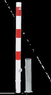 Anti parkeerpaal Ø60mm rood/wit - uitneembaar met grondstuk anti-parkeerpaal, parkeren, rood-witte paal, verboden te parkeren, parkeerbeugel, klappaal, klap paal, trottoirpaal, geen parkeerplaats, niet parkeren