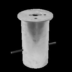 Grondstuk rond Ø200 (305mm diep) haagse paal, den haag, ooievaar, stoeppaal, trottoirpaal, afzetpaal