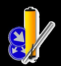 Product Vluchtheuvelbaken BB22 / Markering scheiding rijbanen / montage op de kop van een vluchtheuvel. Vluchtheuvelbaken RVV BB22 ALUMINIUM Ø48/48 (t.b.v. buispaal) BB22 BM21, vluchtbaken, gele zuil, middenberm, middengeleider, BM18, BB21, D02, D03,