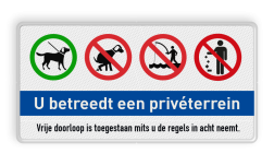 Informatiebord privéterrein - honden aan de lijn - niet uitlaten - niet vissen - afval opruimen informatiebord, honden aan de lijn, verboden, hond, uitlaten, uit te laten, vissen, afval, opruimen, afvalbak