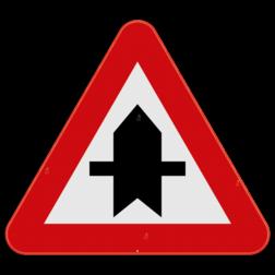 Verkeersbord B15a: Dit verkeersbord wordt geplaatst in de onmiddellijke omgeving van de plaats waar de bestuurder voorrang krijgt. De horizontale strepen duiden de kruisende zijwegen aan die jouw voorrang moeten verlenen. In dit geval de zijweg die van links en rechts komt. Verkeersbord SB250 B15a - Voorrang op kruisende zijwegen B15a