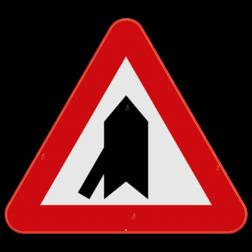 Verkeersbord B15b: Dit verkeersbord wordt geplaatst in de onmiddellijke omgeving van de plaats waar de bestuurder voorrang krijgt. De horzontale streep duid de kruisende zijweg aan die jouw voorrang moeten verlenen. In dit geval de zijstraat die van links onder komt. Verkeersbord SB250 B15b - Voorrang op kruisende zijweg B15b