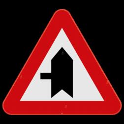 Verkeersbord B15c: Dit verkeersbord wordt geplaatst in de onmiddellijke omgeving van de plaats waar de bestuurder voorrang krijgt. De horzontale streep duid de kruisende zijweg aan die jouw voorrang moeten verlenen. In dit geval de zijstraat die van links komt. Verkeersbord SB250 B15c - Voorrang op kruisende zijweg B15c