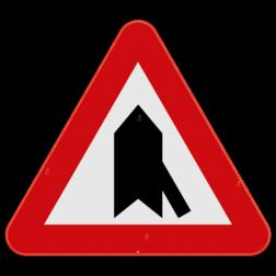 Verkeersbord B15g: Dit verkeersbord wordt geplaatst in de onmiddellijke omgeving van de plaats waar de bestuurder voorrang krijgt. De horzontale streep duid de kruisende zijweg aan die jouw voorrang moeten verlenen. In dit geval de zijstraat die van rechts onder komt. Verkeersbord SB250 B15g - Voorrang op kruisende zijweg B15g
