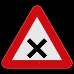 Verkeersbord B17: Dit verkeersbord wordt geplaatst in de onmiddellijke omgeving van een kruispunt waar de voorrang van rechts geldt. Verkeersbord SB250 B17 - Kruispunt waar de voorrang van rechts geldt B17