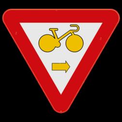 Verkeersbord B22: Dit verkeersbord wordt geplaatst aan een kruispunt waar fietsers rechtsaf mogen slaan, wanneer het verkeerslicht op rood of oranje/geel staat, op voorwaarde dat zij hierbij voorrang verlenen aan de andere weggebruikers die zich verplaatsen op de openbare weg of op de rijbaan. Verkeersbord SB250 B22 - Fietser rechtsaf B22