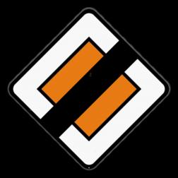 Verkeersbord B11: Dit verkeersbord geeft aan dat je het einde van de voorrangsweg naderd. Dit verkeersbord wordt geplaatst bij het naderen van het kruispunt waar de voorrangsweg dit karakter verliest, behalve aan de uitrit van een autosnelweg waar het niet geplaatst mag worden. Verkeersbord SB250 B11 -Einde voorrangsweg B11