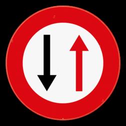 Verkeersbord B19: Dit verkeersbord geeft een smalle doorgang aan. Het gebod voorrang te verlenen aan de bestuurders die uit de tegenovergestelde richting komen. Verkeersbord SB250 B19 -Smalle doorgang B19
