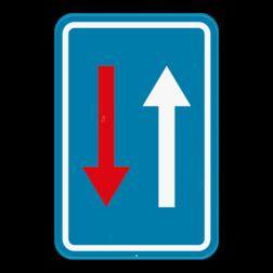 Verkeersbord B21: Verkeersbord dat een smalle doorgang aangeeft. Voorrang ten opzichte van de bestuurders die uit de tegenovergestelde richting komen. Verkeersbord SB250 B21 -Smalle doorgang B21