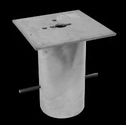 Grondstuk vierkant 250x250 (305mm diep) haagse paal, den haag, ooievaar, stoeppaal, trottoirpaal, afzetpaal