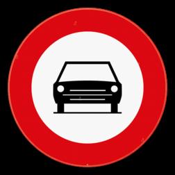 Verkeersbord C5: Verboden toegang voor bestuurders van motorvoertuigen met meer dan twee wielen. Verkeersbord SB250 C5 - Verboden toegang voor motorvoertuigen C5