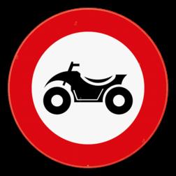 Verkeersbord C6: Verboden toegang voor bestuurders van motorvoertuigen met vier wielen, geconstrueerd voor onverhard terrein, met een open carrosserie, een stuur als op een motorfiets en een zadel. Verkeersbord SB250 C6 - Verboden toegang voor bestuurders van quads C6