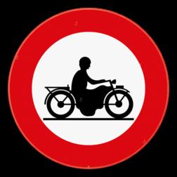 Verkeersbord C7: Verboden toegang voor bestuurders van motorfietsen. Verkeersbord SB250 C7 - Verboden toegang voor bestuurders van motorfietsen C7