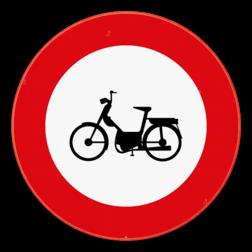Verkeersbord C9: Verboden toegang voor bestuurders van bromfietsen. Verkeersbord SB250 C9 - Verboden toegang voor bestuurders van bromfietsen C9