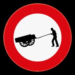 Verkeersbord C17: Verboden toegang voor bestuurders van handkarren. Verkeersbord SB250 C17 - Verboden toegang voor bestuurders van handkarren C17