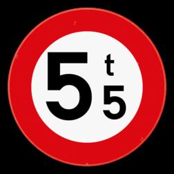 Verkeersbord C21: Verboden toegang voor bestuurders van voertuigen waarvan de massa in beladen toestand hoger is dan de aangeduide massa. Verkeersbord SB250 C21 - Verboden toegang voor voertuigen met een massa groter dan aangeduid C21