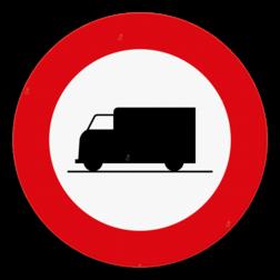 Verkeersbord C23: Verboden toegang voor bestuurders van voertuigen bestemd of gebruikt voor het vervoer van zaken. Verkeersbord SB250 C23 - Verboden toegang voor voertuigen bestemd voor het vervoer van zaken C23