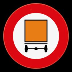 Verkeersbord C24a: Verboden toegang voor bestuurders van voertuigen die de gevaarlijke goederen, bepaald door de voor vervoer van gevaarlijke goederen bevoegde Ministers, vervoeren. Een onderbord met vermelding van de letter B, C, D of E duidt aan dat het verbod geldt voor alle voertuigen die gevaarlijke goederen vervoeren waarvoor de toegang tot wegtunnels van respectievelijk categorie B, C, D of E verboden is Verkeersbord SB250 C24a - Verboden toegang voor bestuurders van voertuigen die gevaarlijke goederen vervoeren C24a
