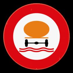 Verkeersbord C24c: Verboden toegang voor bestuurders van voertuigen die de gevaarlijke verontreinigende stoffen, bepaald door de voor vervoer van gevaarlijke goederen bevoegde Ministers, vervoeren. Verkeersbord SB250 C24c -Verboden toegang voor bestuurders van voertuigen die gevaarlijke verontreinigende stoffen vervoeren C24c