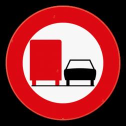 Verkeersbord C39: Vanaf het verkeersbord tot en met het volgend kruispunt, verbod voor bestuurders van voertuigen of slepen gebruikt voor het vervoer van zaken, waarvan de maximale toegelaten massa meer dan 3.500 kg bedraagt, een gespan of een voertuig met meer dan twee wielen links in te halen. Verkeersbord SB250 C39 - Verbod voertuigen met toegelaten massa > 3500 kg in te halen C39