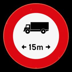 Verkeersbord C25: Verboden toegang voor bestuurders van voertuigen of slepen waarvan de lengte, lading inbegrepen, groter is dan de aangeduide. Verkeersbord SB250 C25 - Verboden voor voertuigen langer dan het aangeduide C25
