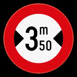 Verkeersbord C27: Verboden toegang voor bestuurders van voertuigen waarvan de breedte, lading inbegrepen, groter is dan de aangeduide. Verkeersbord SB250 C27 - Verboden voor voertuigen breder dan het aangeduide C27