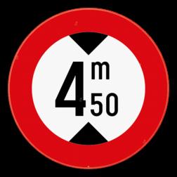 Verkeersbord C29: Verboden toegang voor bestuurders van voertuigen waarvan de hoogte, lading inbegrepen, groter is dan de aangeduide. Verkeersbord SB250 C29 - Verboden voor voertuigen hoger dan het aangeduide C29