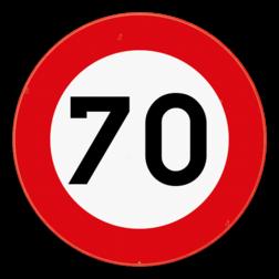Verkeersbord C43: Vanaf het verkeersbord tot en met het volgend kruispunt, of tot elk verkeersbord C43 met of zonder zonale geldigheid, of tot het verkeersbord dat het begin of het einde van een bebouwde kom, van een woonerf of erf, of van een voetgangerszone aanduidt, verbod te rijden met een grotere snelheid dan deze die is aangeduid. Verkeersbord SB250 C43 - Verbod te rijden met een grotere snelheid dan is aangeduid C43