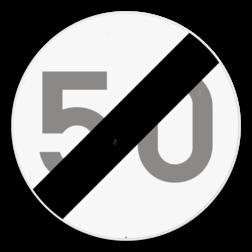 Verkeersbord C45: Einde van de snelheidsbeperking opgelegd door het verkeersbord C43. De vermelding