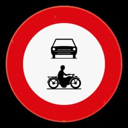 Verkeersbord C5-C7: Verboden toegang voor bestuurders van motorvoertuigen met meer dan twee wielen en motorfietsen. Verkeersbord SB250 C5-C7 - Verboden toegang voor motorvoertuigen en motorfietsen C5-C7