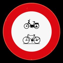 Verkeersbord C9-C11: Verboden toegang voor bestuurders van bromfietsen en fietsen. Verkeersbord SB250 C9-C11 - Verboden toegang voor bestuurders van bromfietsen en fietsen C9-C11