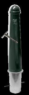 Hagenaartje Ø164x750mm met grondstuk - RAL6012 inclusief wapen haagse paal, den haag, ooievaar, stoeppaal, trottoirpaal, afzetpaal, hagenaartje, afzetpaal, trottoirpaal