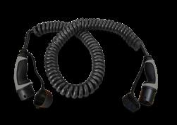 Laadkabel krulsnoer - 4 meter - type 2 - spiraalkabel laadkabel, oplaadkabel, charging, cable, krulsnoer, spiraal
