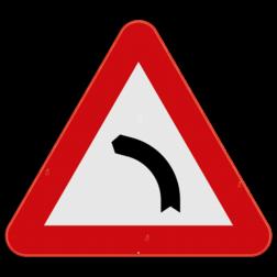 Verkeersbord A1a: Dit gevaarsbord geeft aan dat er een gevaarlijke bocht naar links aankomt. De weggebruiker dient zijn snelheid aan te passen. Verkeersbord SB250 A1a - Gevaarlijke bocht naar links A1a
