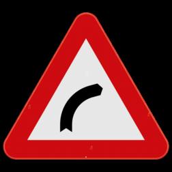 Verkeersbord A1b: Dit gevaarsbord geeft aan dat er een gevaarlijke bocht naar rechts aankomt. De weggebruiker dient zijn snelheid aan te passen. Verkeersbord SB250 A1b - Gevaarlijke bocht naar rechts A1b
