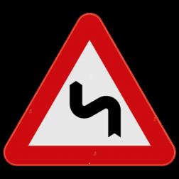 Verkeersbord A1c: Dit gevaarsbord geeft aan dat er een gevaarlijke dubbele bocht of meer dan twee bochten aankomen. De eerste bocht is naar links. De weggebruiker dient zijn snelheid aan te passen. Verkeersbord SB250 A1c - Gevaarlijke dubbele of meer dan twee bochten, de eerste naar links A1c