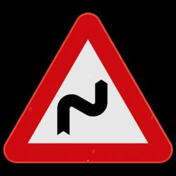 Verkeersbord A1d: Dit gevaarsbord geeft aan dat er een gevaarlijke dubbele bocht of meer dan twee bochten aankomen. De eerste bocht is naar rechts. De weggebruiker dient zijn snelheid aan te passen. Verkeersbord SB250 A1d - Gevaarlijke dubbele of meer dan twee bochten, de eerste naar rechts A1d