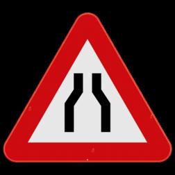 Verkeersbord A7a: Dit gevaarsbord geeft aan dat u een rijbaansversmalling nadert. De weggebruiker dient zijn snelheid aan te passen en zich klaar te maken om uit te wijken. Verkeersbord SB250 A7a - Rijbaanversmalling A7a