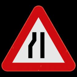 Verkeersbord A7b: Dit gevaarsbord geeft aan dat u een rijbaansversmalling nadert naar links. De weggebruiker dient zijn snelheid aan te passen en zich klaar te maken om uit te wijken naar rechts. Verkeersbord SB250 A7b - Rijbaanversmalling links A7b